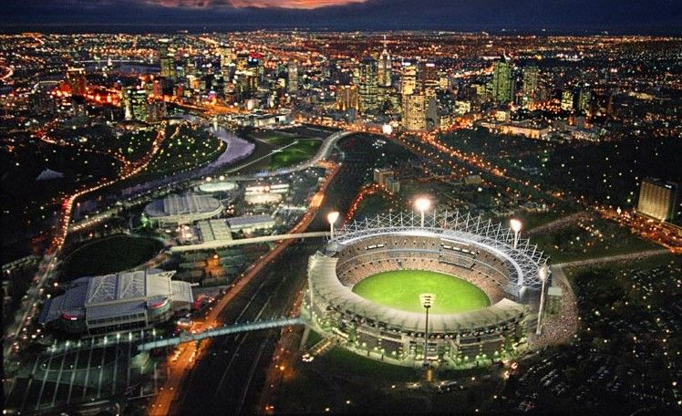 Melbourne Tourist Attractions,mcg,cricket ground,night,lights,victoria,australia