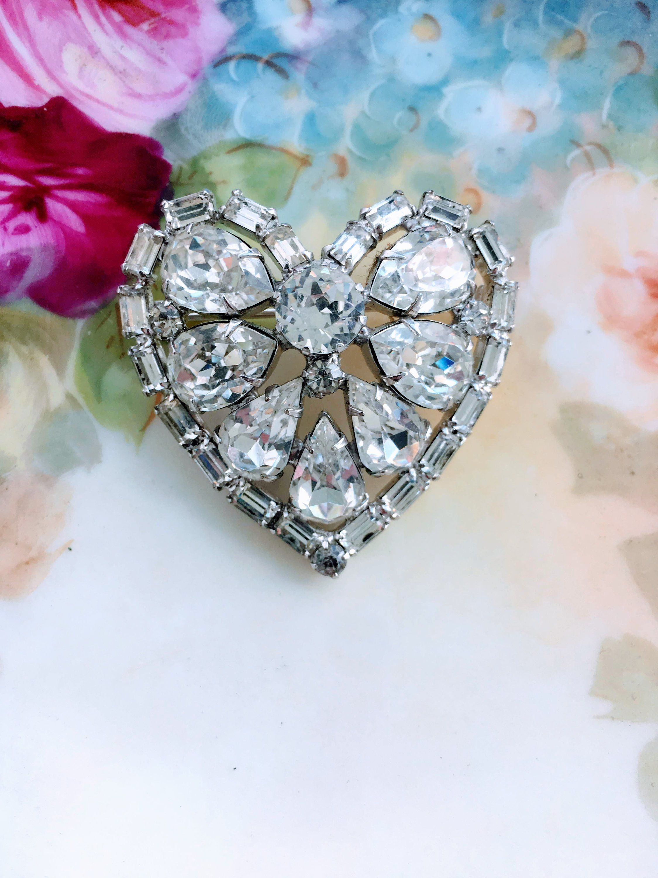 a80a18f20c264 Vintage Signed Weiss Clear Rhinestone Heart Brooch Silver Tone by ...