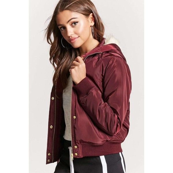 8374669baada Forever21 Padded Faux Fur-Lined Hooded Bomber Jacket ($28) ❤ liked on  Polyvore featuring outerwear, jackets, burgundy, fur bomber jacket, faux-leather  ...