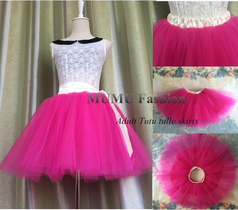 Fluffy tutu skirt girl Adult or teen Hot pink with Yellow Belt Mini ...