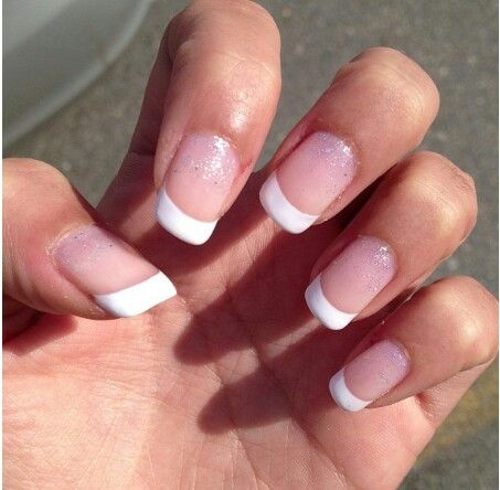 Rounded French Tip Acrylics With Glitter French Acrylic Nails
