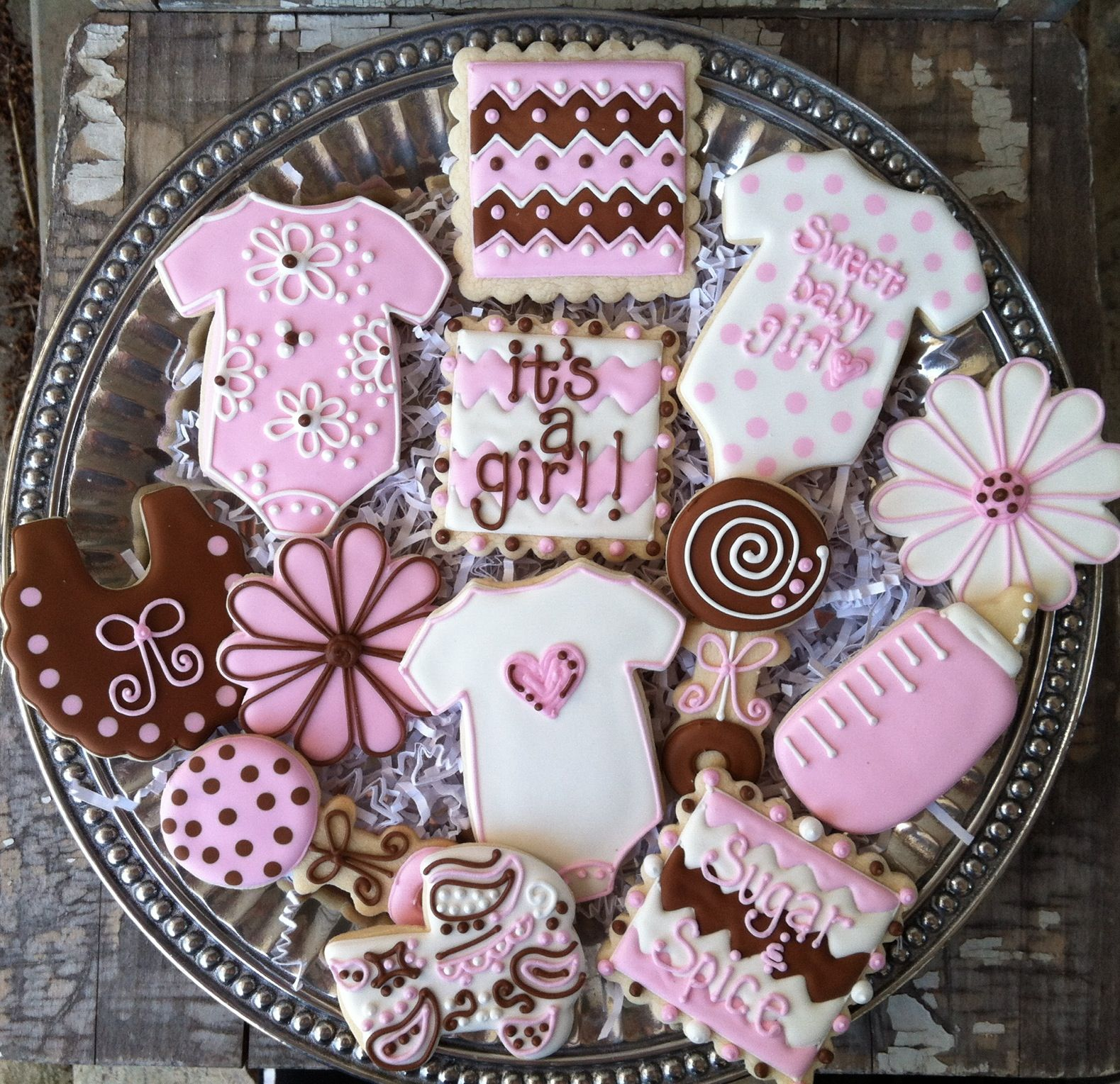 Pink and brown baby shower cookies!