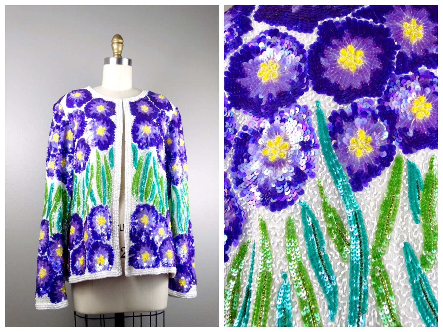 Aster Flower Sequined Jacket // Purple Floral Sequin Cardigan ...