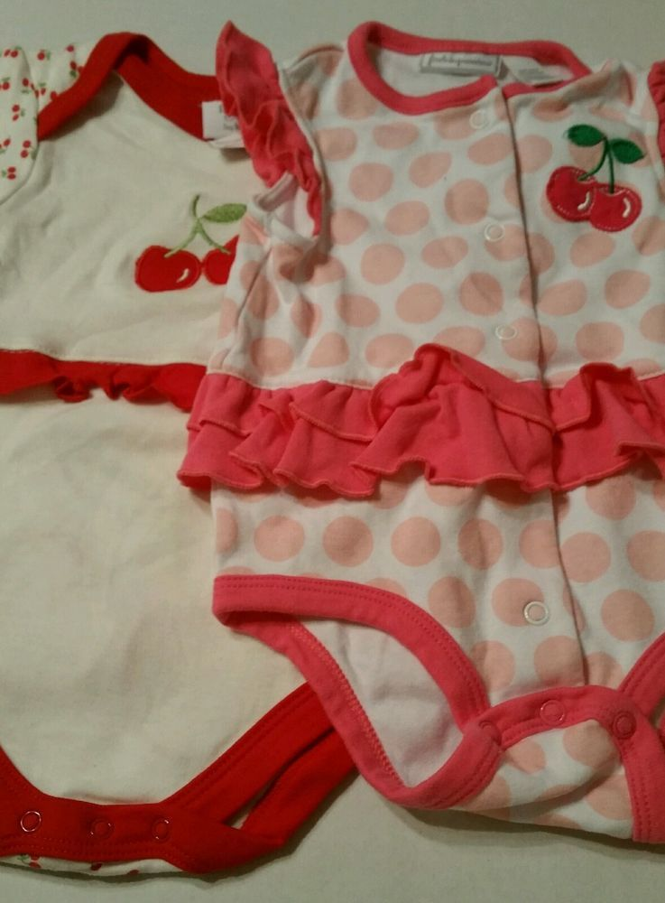 8be2bbc3e6e7 Bon Bebe LOT OF 2 baby girl one piece outfits Cherry Sz 3-6 mo and 6 ...