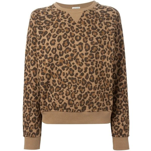 85fe586f1bebb9 Saint Laurent Leopard Print Sweatshirt ($445) ❤ liked on Polyvore ...