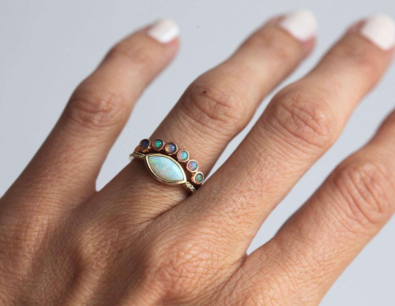 Rose Gold Opal Ring Set, Marquise Ring Set, 14k Gold