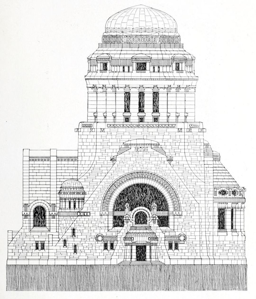 Architecture Design Sketch For A Monumental Structure
