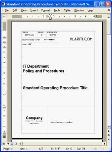Standard Operating Procedure Template  Quality Rfo
