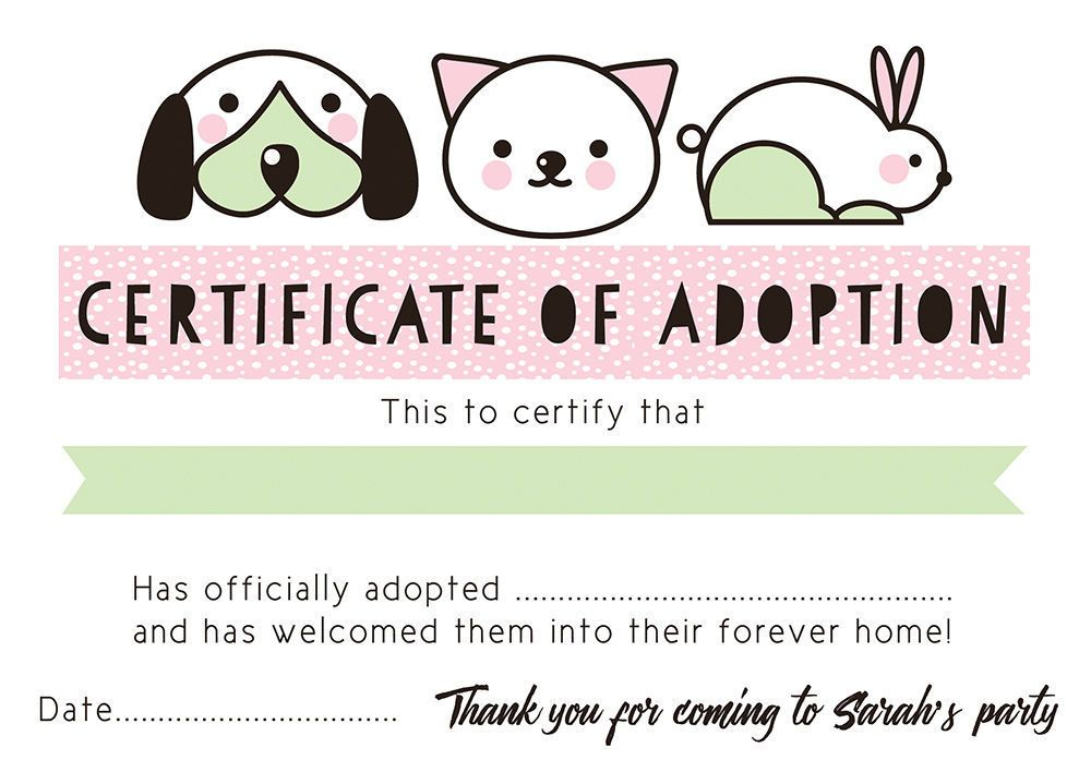 Pet Rescue Themed Kids Birthday Party Inspiration Certificate Of - certificate