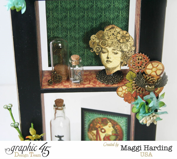 "'Window shadow box' (view 3) using ""Steampunk Debutante"" by Maggi Harding Design Team for Graphic 45 - Wendy Schultz ~ Graphic 45 Projects."
