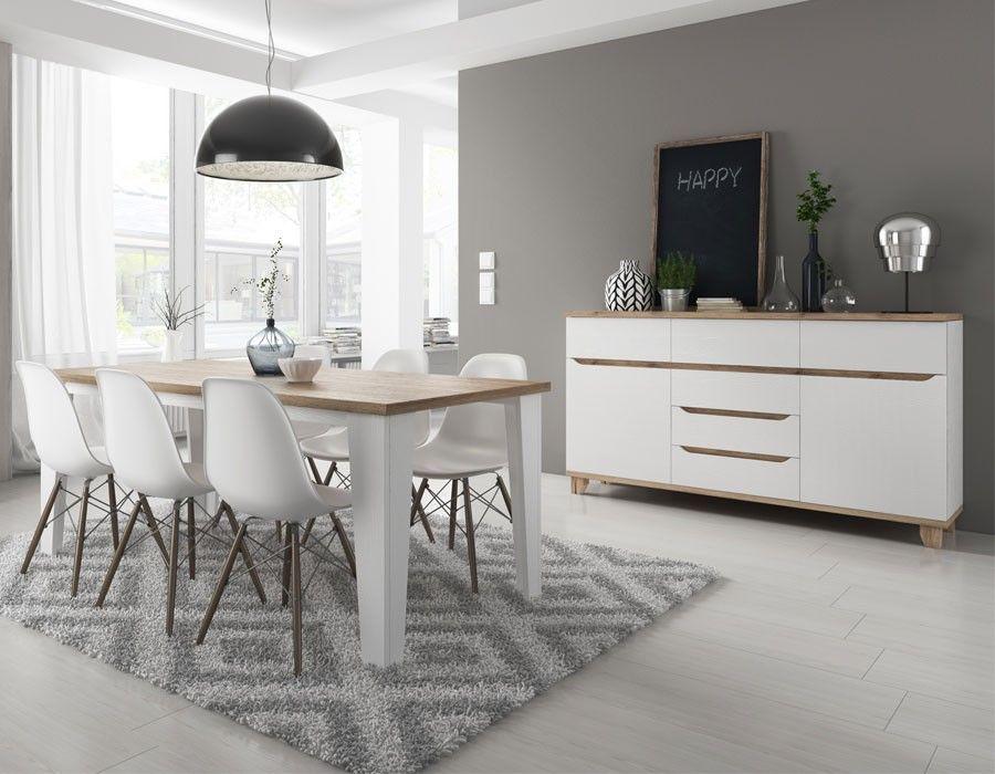 Salle à manger scandinave blanche et couleur bois ALVIN Meubles de
