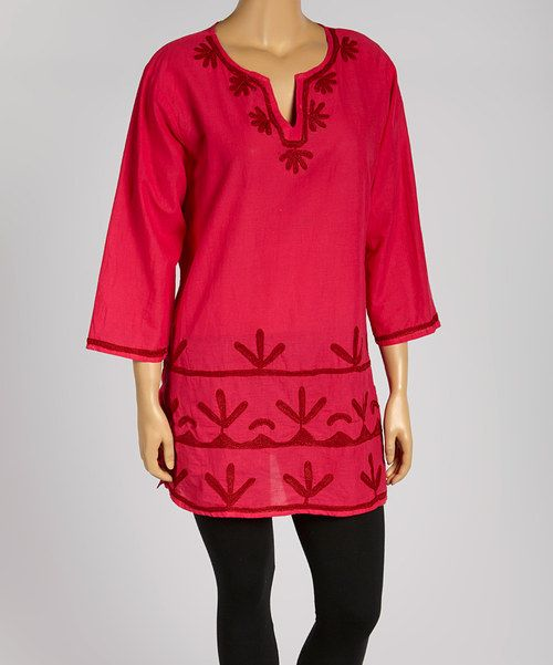 Look at this Fuchsia Embroidered Notch Neck Tunic - Plus on #zulily today!