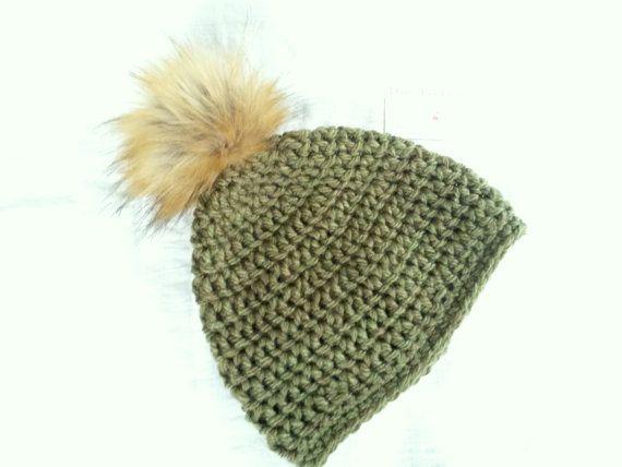 57167809d5b Khaki Olive green pom pom hat pompom hat by DawnsBagBoutique Fur pompom