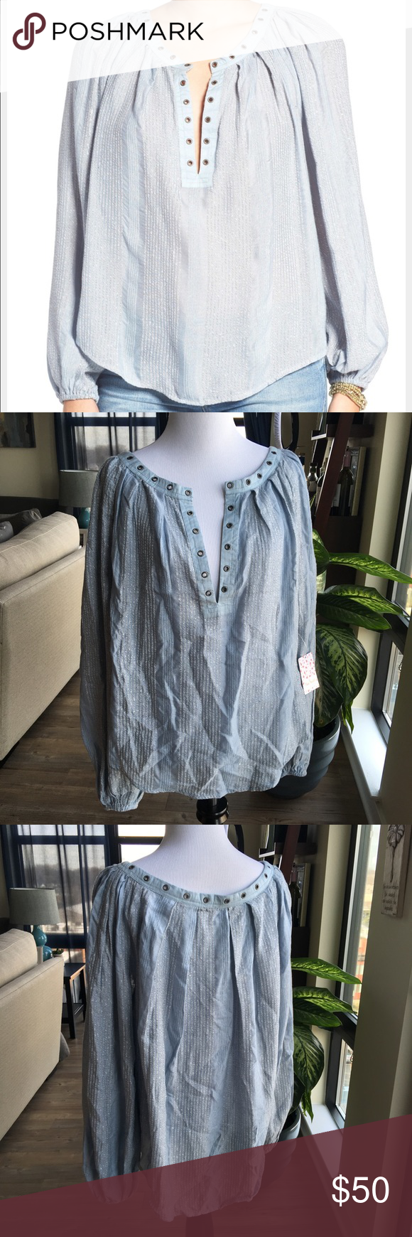 """NWT Free People 'Against All Odds' Blouse NWT Free People 'Against All Odds' Women's Blouse Color: Blue Combo Size Small No flaws, new condition non-smoking home  About This Item Details - Split neck - Long sleeves with banded cuffs - Grommet trim - Allover stripes - Approx. 27"""" length - Imported Fiber Content 81% rayon, 19% cotton Care Machine wash cold Additional Info Fit: this style fits true to size. Free People Tops Blouses"""