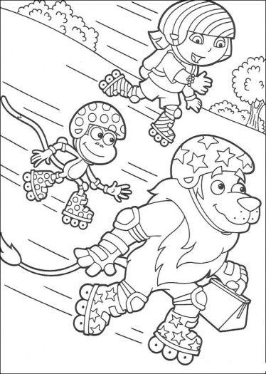 roller skating dora coloring page