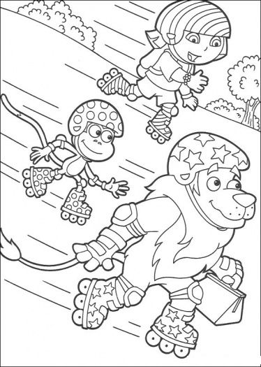 Roller Skating Dora Coloring Page With Images Lion Coloring