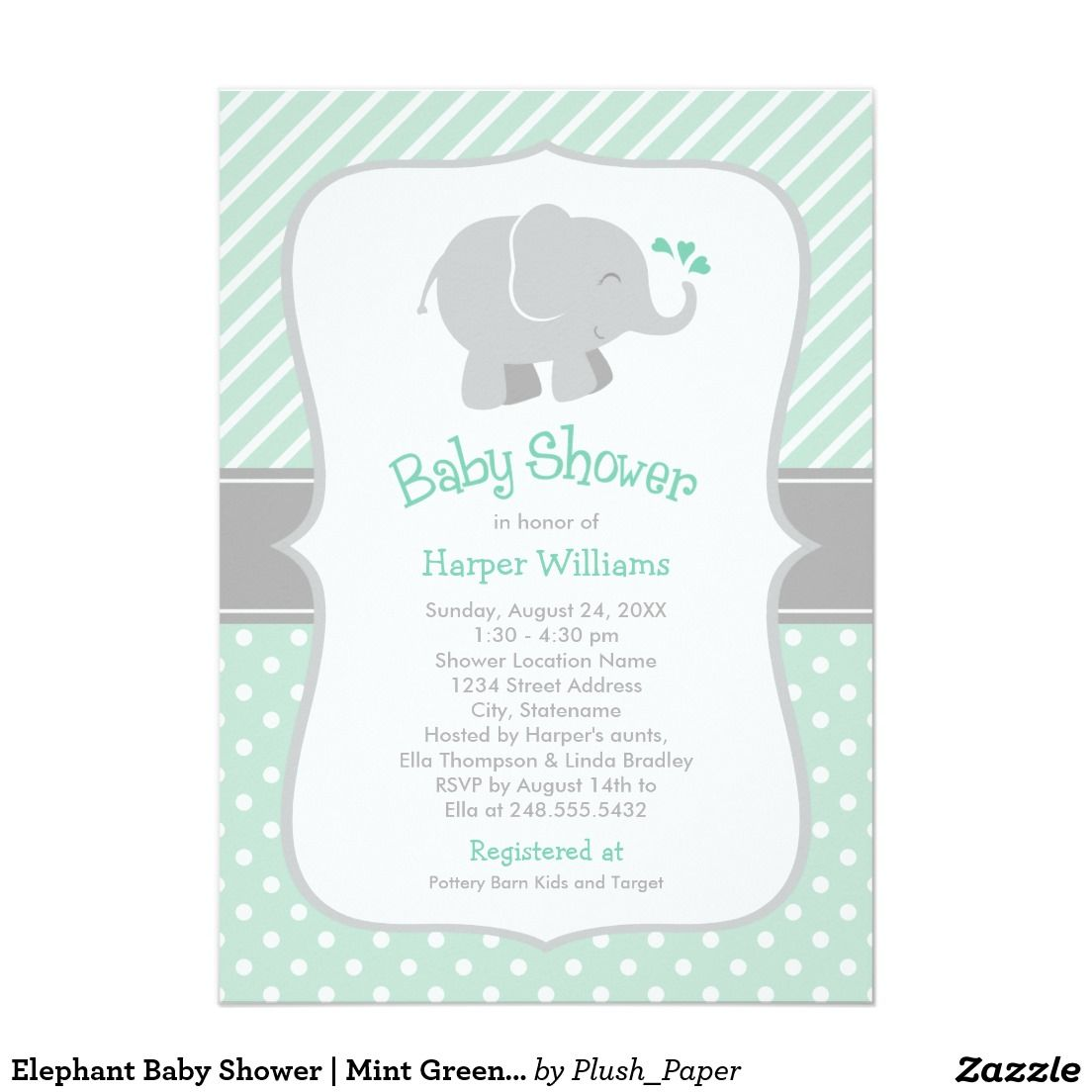 Elephant Baby Shower | Mint Green and Gray Card | Elephant baby ...