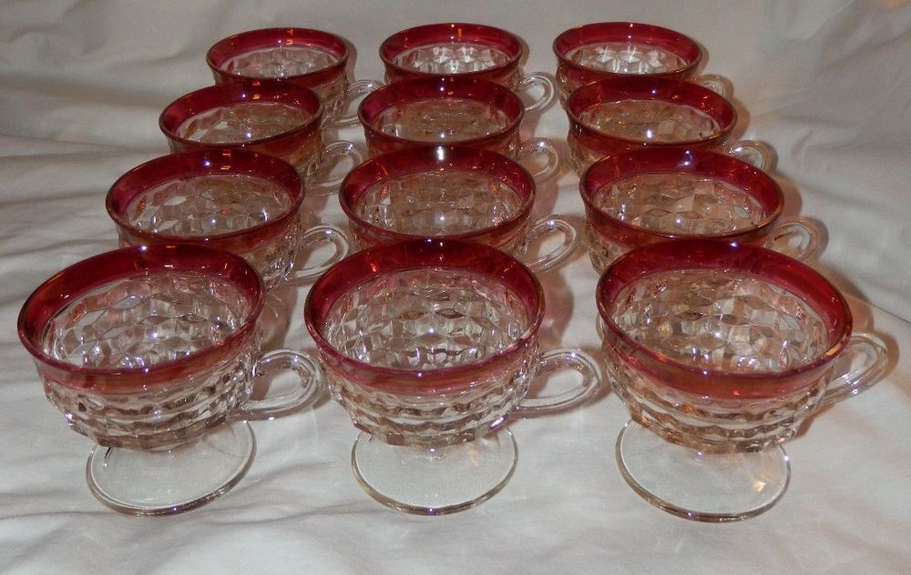 Vintage Set of 12 Tumbling Block Glass Cups with Ruby Red Flash Rim