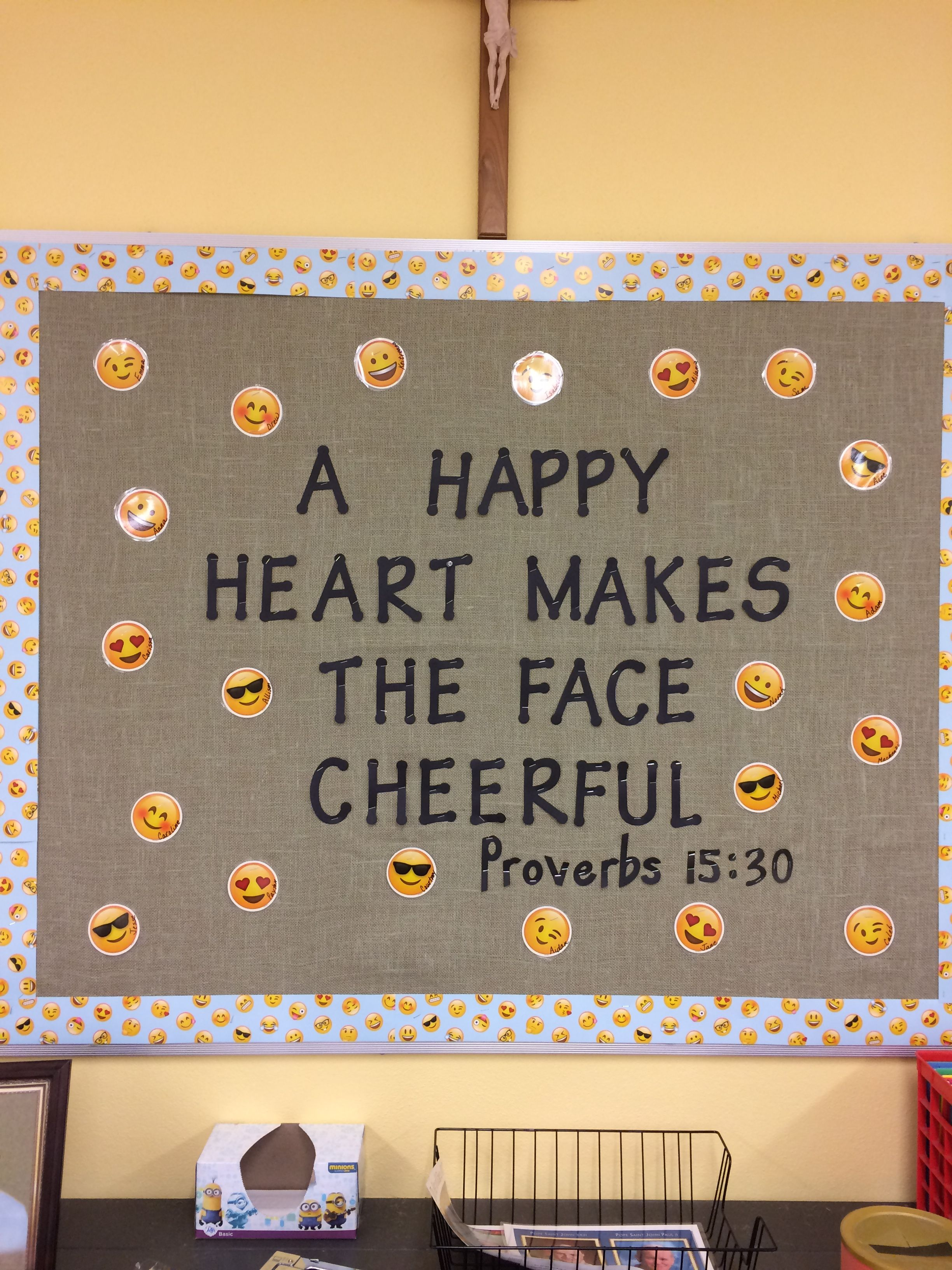 Religious Emoji Bulletin Board With Scripture From Proverbs