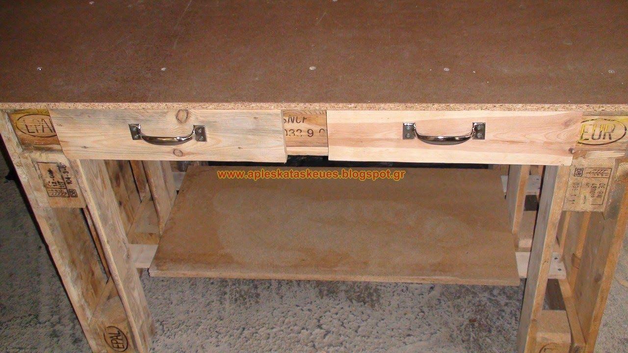 a56ff8252e37 Απλές κατασκευές από παλέτες   Simple Pallet Construction  Πάγκος εργασίας  από παλέτες by Alex !!!!! pallet workbench by Alex !!