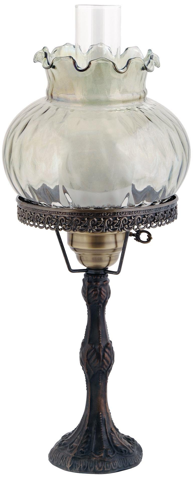 Rhombus Optic Green Shade Brass Hurricane Table Lamp -