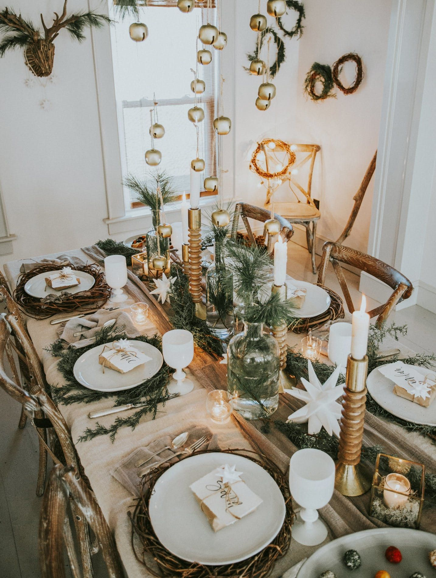 If You Crush On Scandinavian Interiors Then This Holiday Party Is For You Holiday Table Decorations Christmas Table Decorations Centerpiece Christmas Table Settings