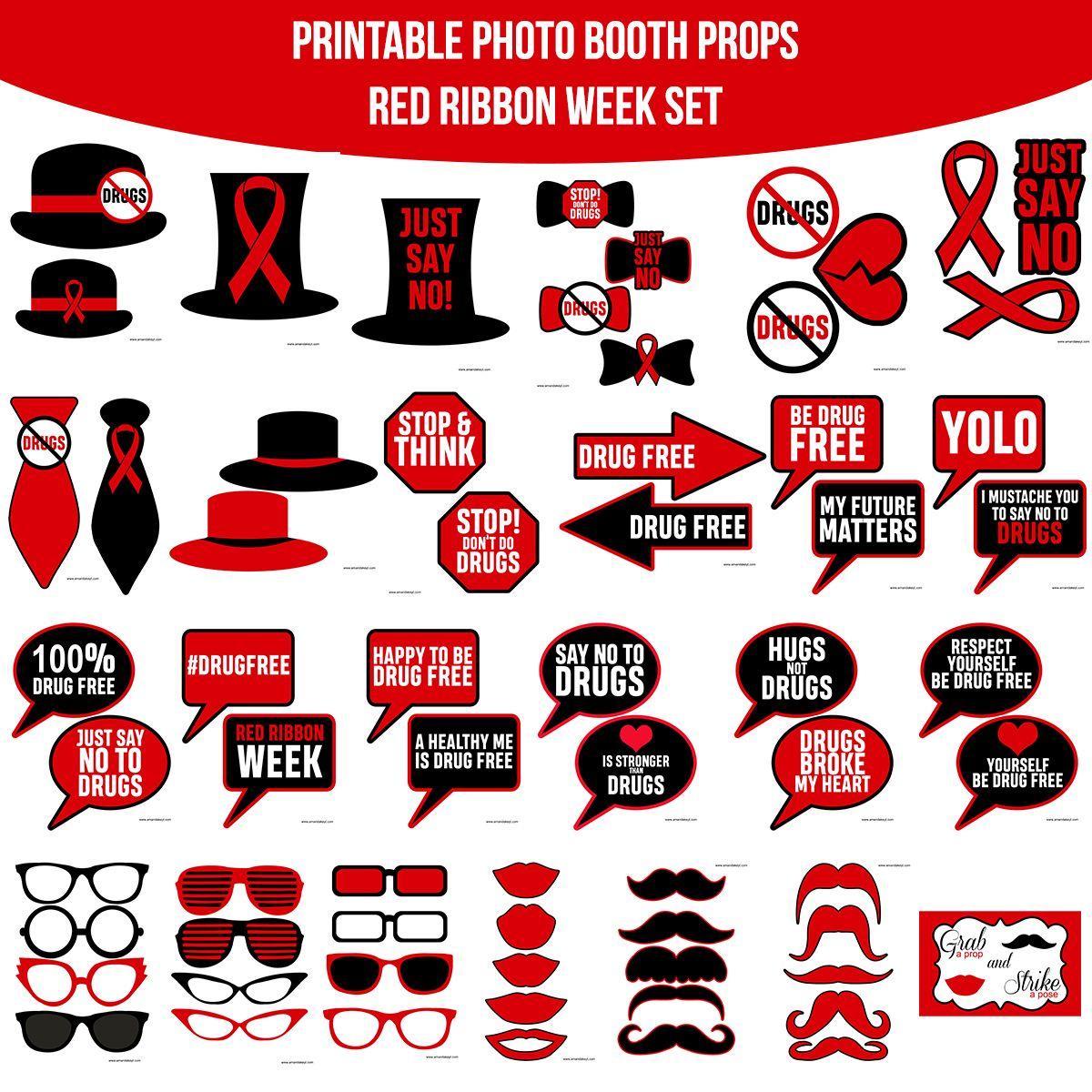 Red Ribbon Week Red Ribbon Photobooth Props Printable [ 1200 x 1200 Pixel ]