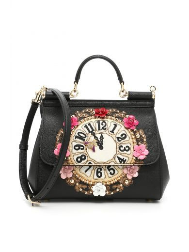 Miss Sicily Medium Leather Clock Satchel Bag, Black, Black Multi ... ee9b2e3a21
