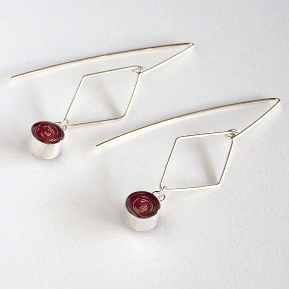 Diamond Wire Earrings with Burgundy Paper Bead / Sterling Silver or ...