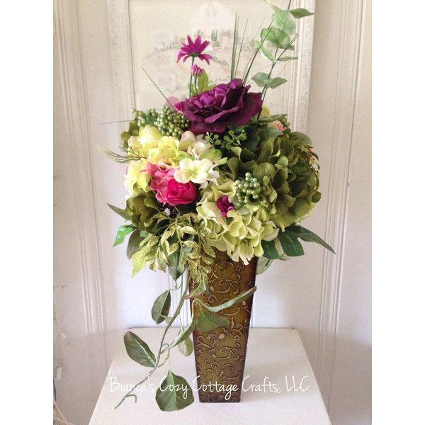 Large Flower Arrangement In Tin Vase Hydrangea Arrangement