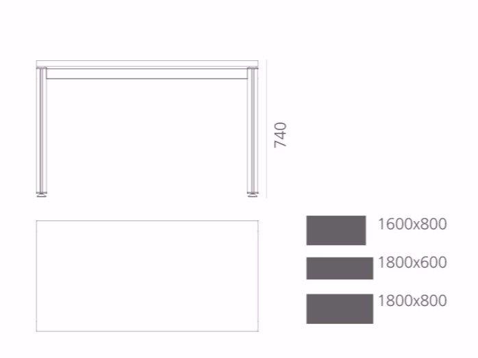 Rectangular aluminium office desk NASKI by Systemtronic