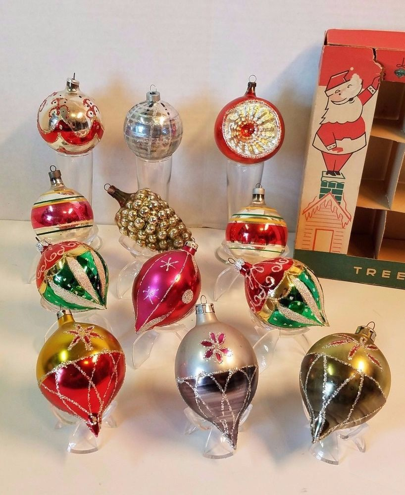 Mercury Balls Decorations Vintage Glass Christmas Ball Ornament Mercury Indent Mica Teardrop