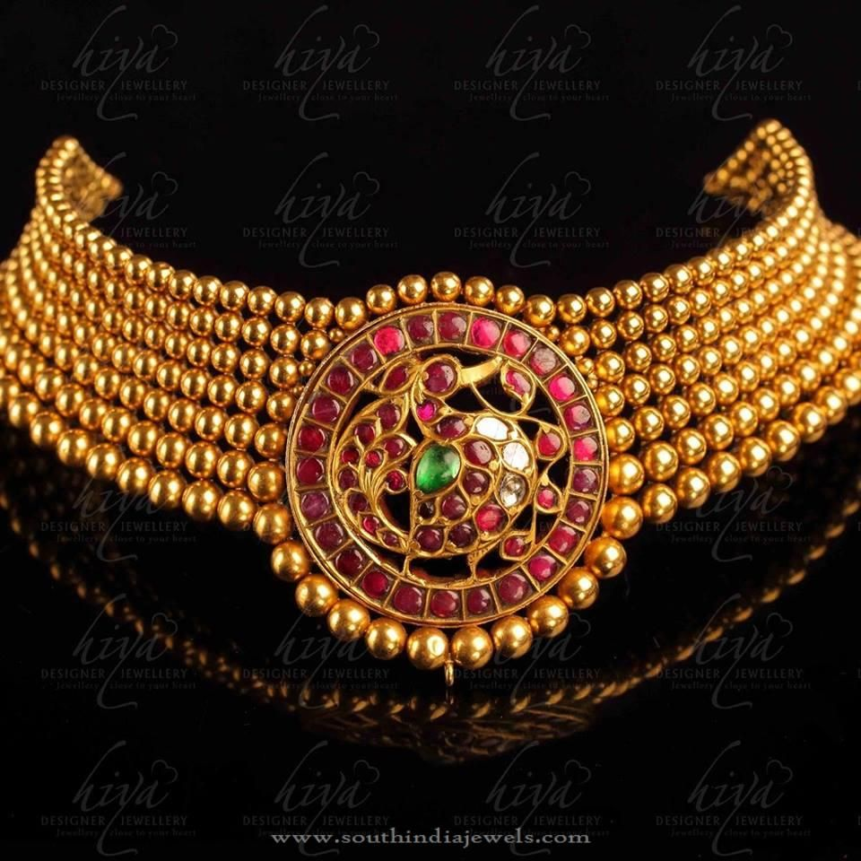 set online necklace antique ruby kempu stone designer