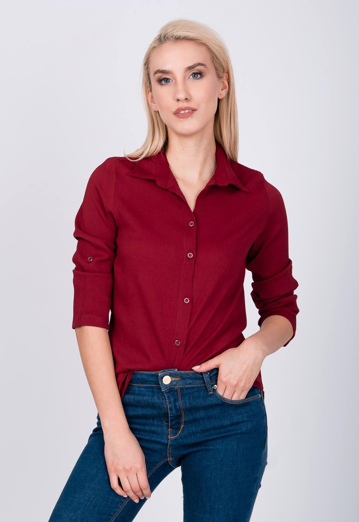 a221c1d7dc37 Asymetrická dámska bordová košeľa s trojštvrťovým rukávom - ROUZIT ...