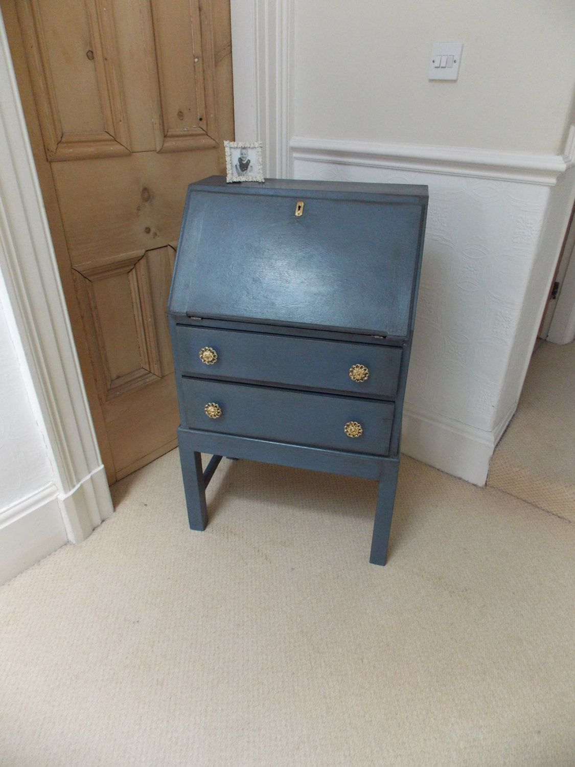Small Vintage Bureau Writing Desk with Two Drawers.  Hand Painted Annie Sloan Old Violet with Blue Interior and Gold Leaf Detail by EmmettsChair on Etsy
