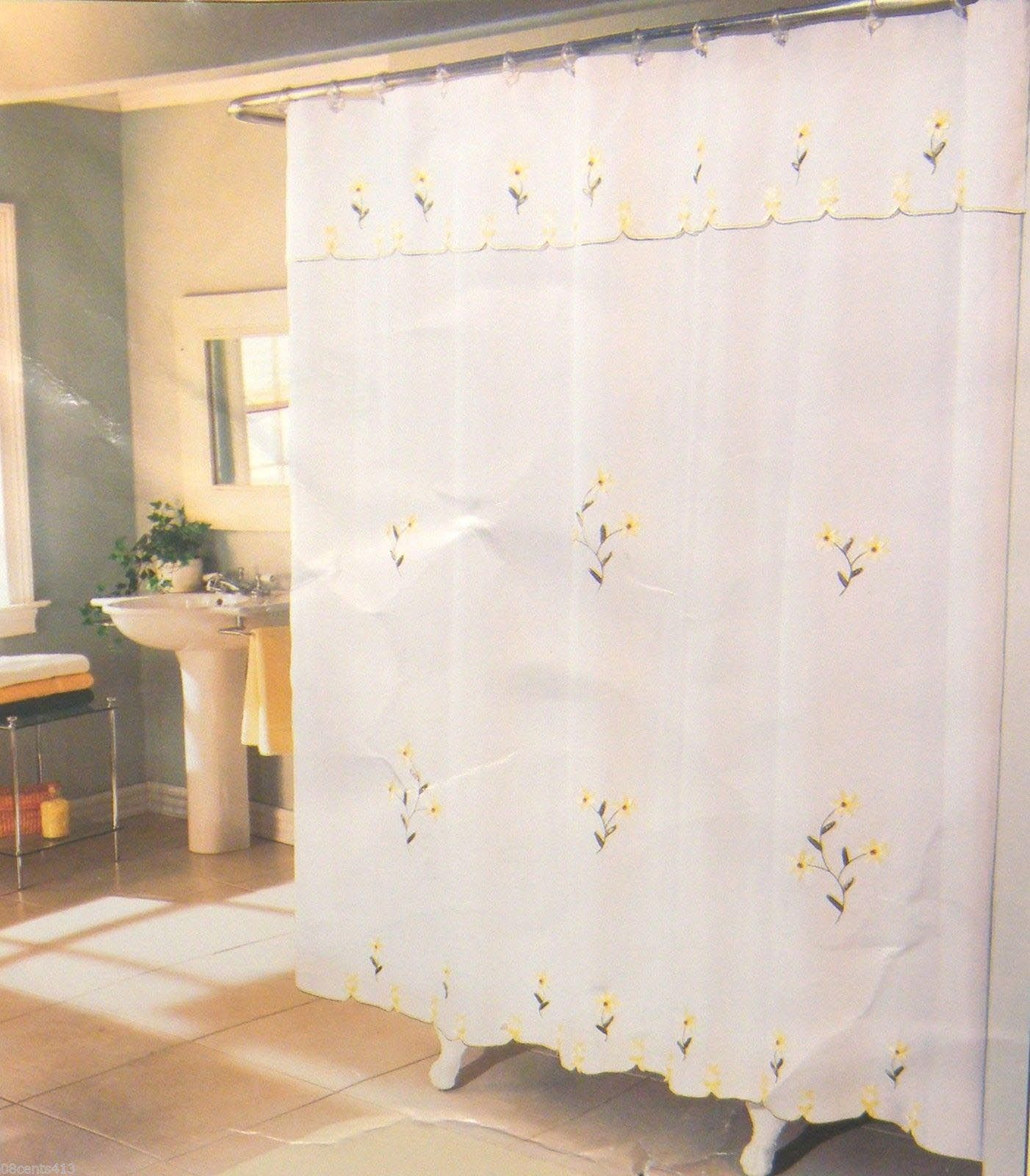 Double Swag Shower Curtain Attached Valance