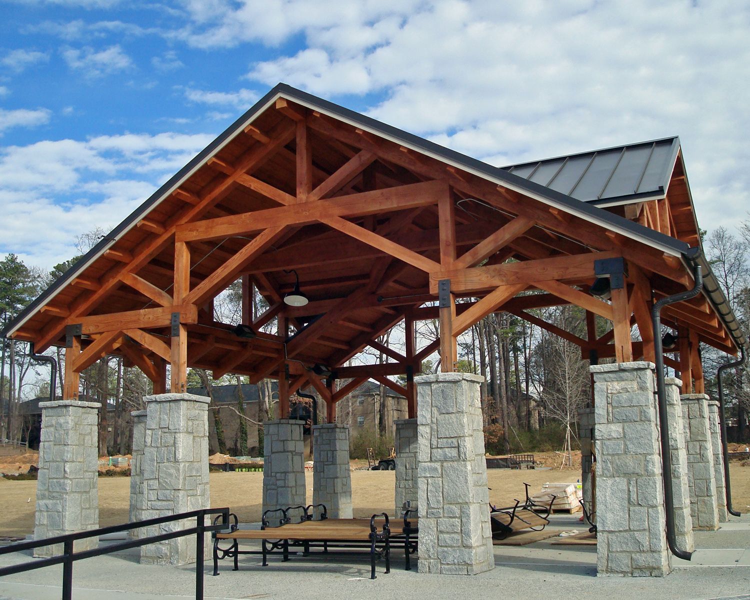 Timber Frame Pavilion. Cedar Timbers And Trusses With