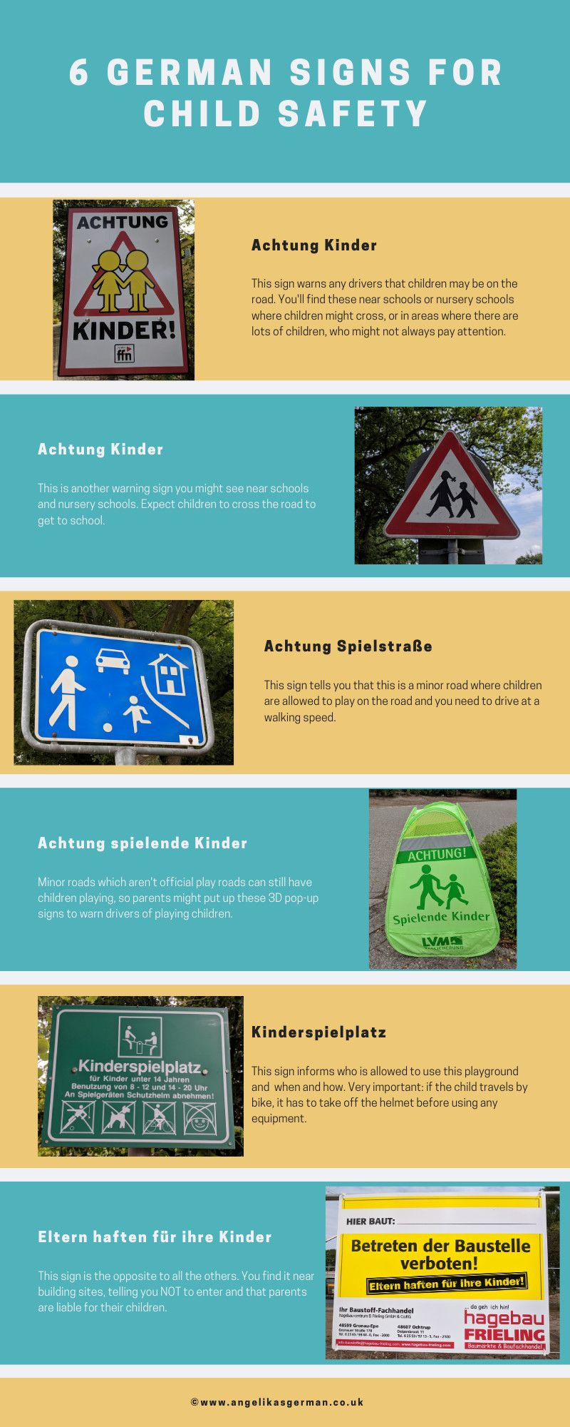 6 German signs for child safety Learn a new language