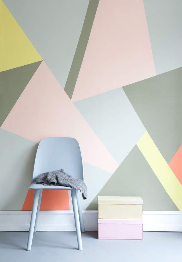 Une d co pastel et g om trique le mur galerie d art inspiration une d c - Comment preparer un mur avant peinture ...