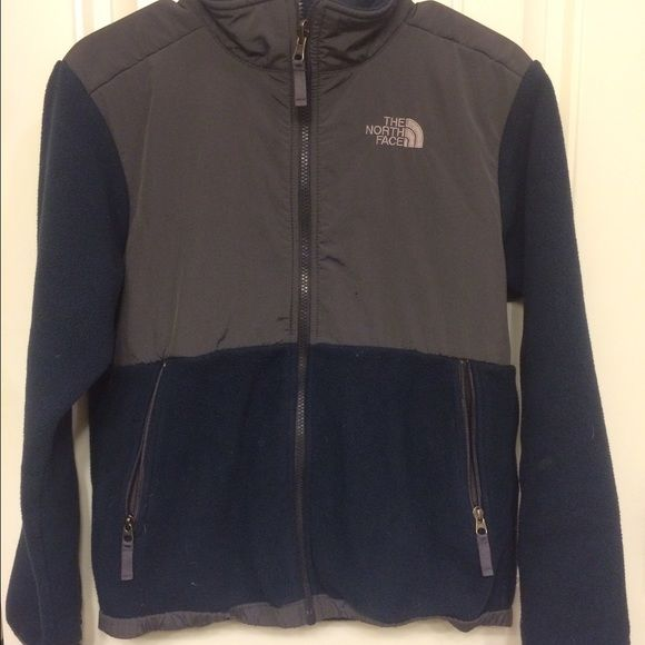 North Face fleece jacket, navy Lightly work kids large navy fleece jacket North Face Jackets & Coats