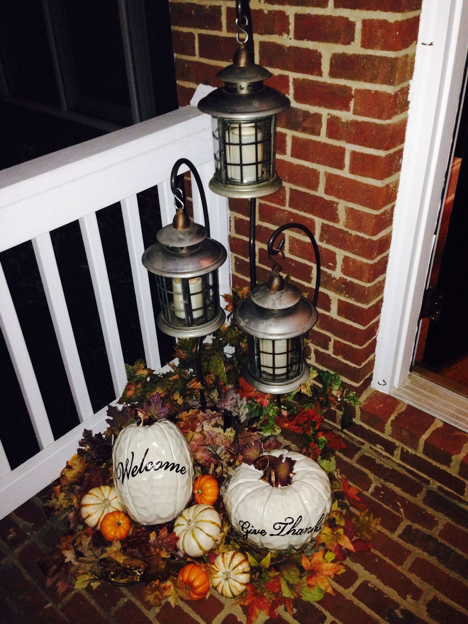 Refurbished old orange pumpkins and lanterns for a fresh fall/harvest look!  Happy Thanksgiving!  It's almost that time!