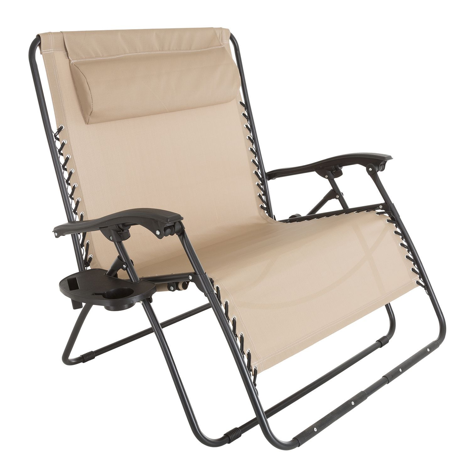 Beige Zero Gravity Loveseat With Pillow Cup Holder Lawn Chairs