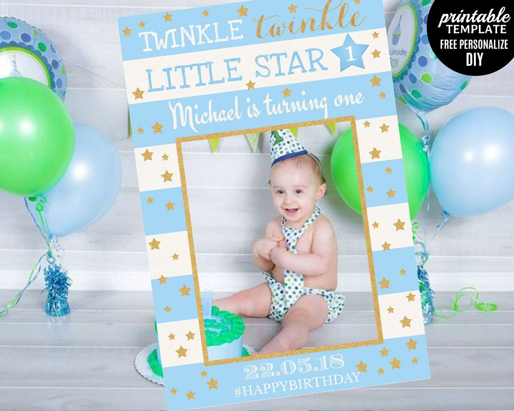 Twinkle Twinkle Little Star Photo Prop Template. Boy First Birthday ...