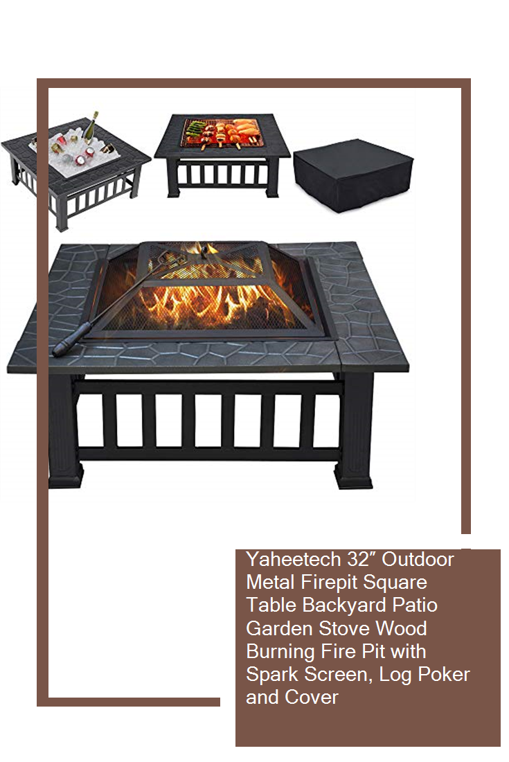 Yaheetech 32 Outdoor Metal Firepit Square Table Backyard Patio Garden Stove Wood Burning Fire Pit With Spark Screen Log Poker And Cover