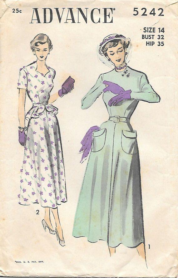 1940s Flared Peplum Dress Advance 5242 Sewing Pattern, offered on ...