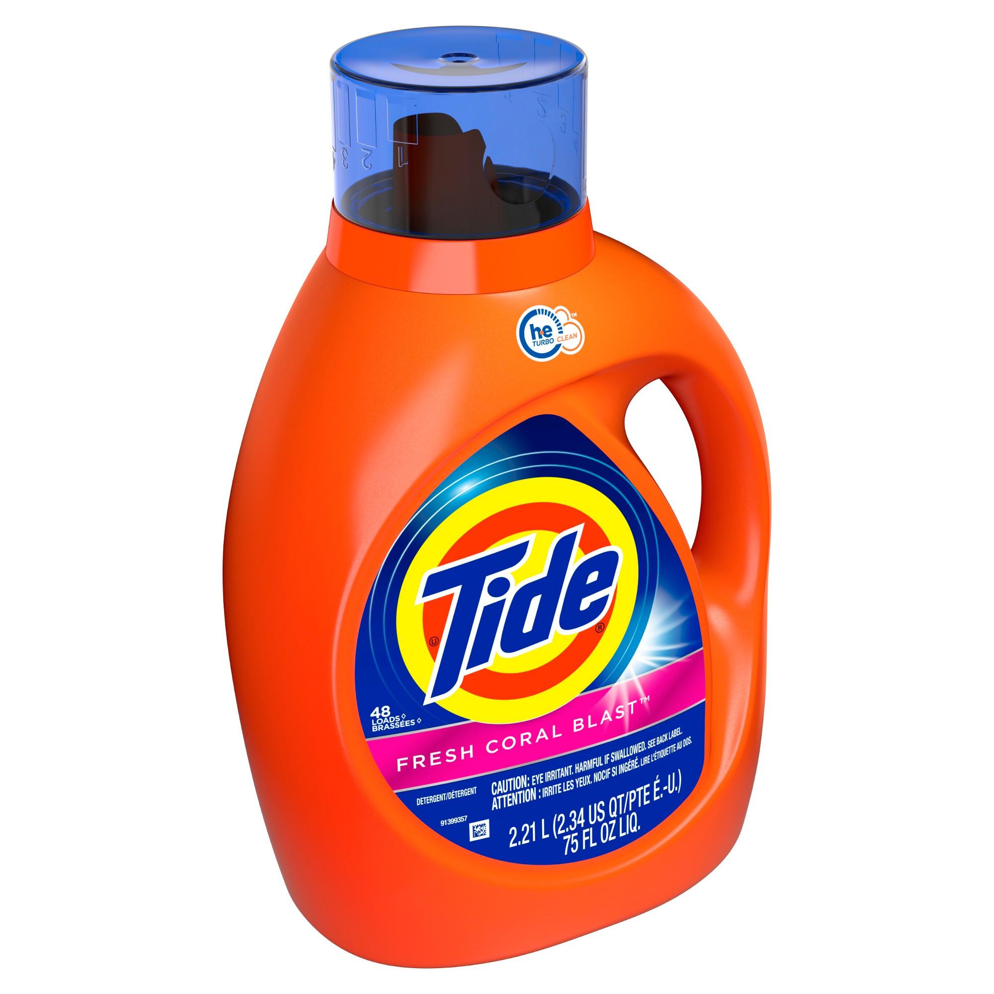 Tide Ultra Oxi Fresh Coral Blast Liquid Laundry Detergent 75oz