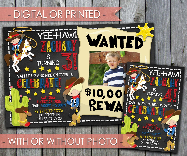 Cowboy Invitation, Cowboy Invite, Cowboy Birthday Invitation, Chalkboard,Boy, Western, Country, Toy Story, Digital File, Printed #306 by PerfectPrintableCo on Etsy