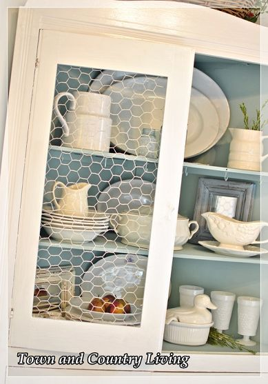 Replacing Glass In A Cabinet With Chicken Wire Chicken Wire Cabinets Home Decor Decor