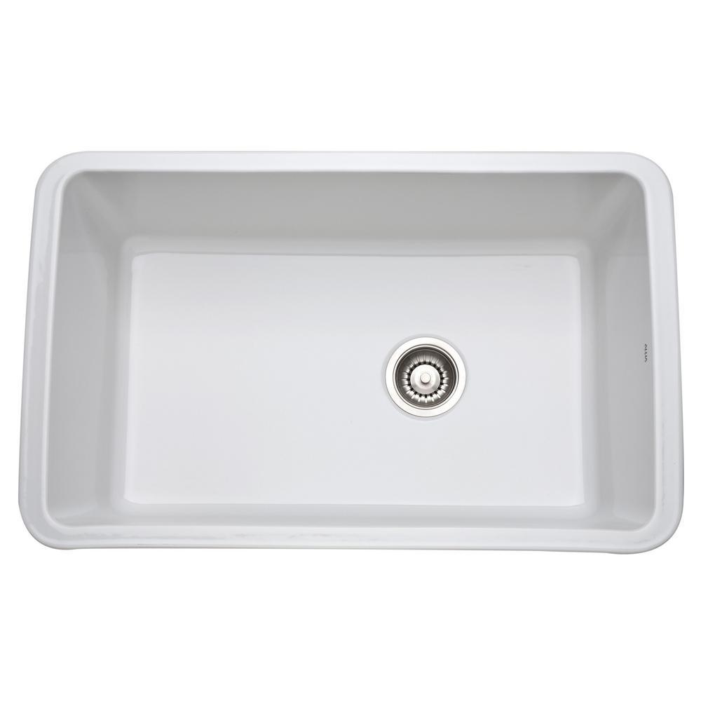 Rohl Allia Undermount Fireclay 31 In Single Bowl Kitchen Sink In