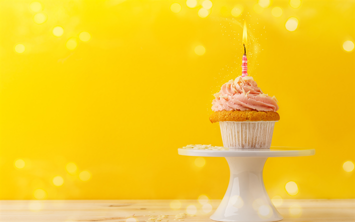 Download Wallpapers Happy Birthday Cupcake Cake Burning Candle 1 Year Concepts Sweets Cake On A Yellow Background Besthqwallpapers Com Happy Birthday Cupcakes Cupcake Cakes Sweets Cake